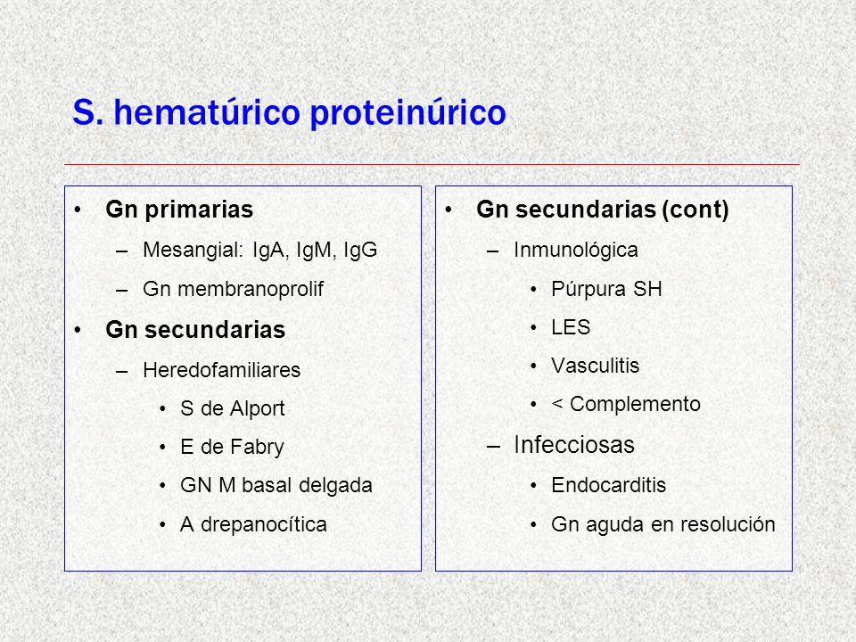 S. hematúrico proteinúrico Gn primarias –Mesangial: IgA, IgM, IgG –Gn membranoprolif Gn secundarias –Heredofamiliares S de Alport E de Fabry GN M basa
