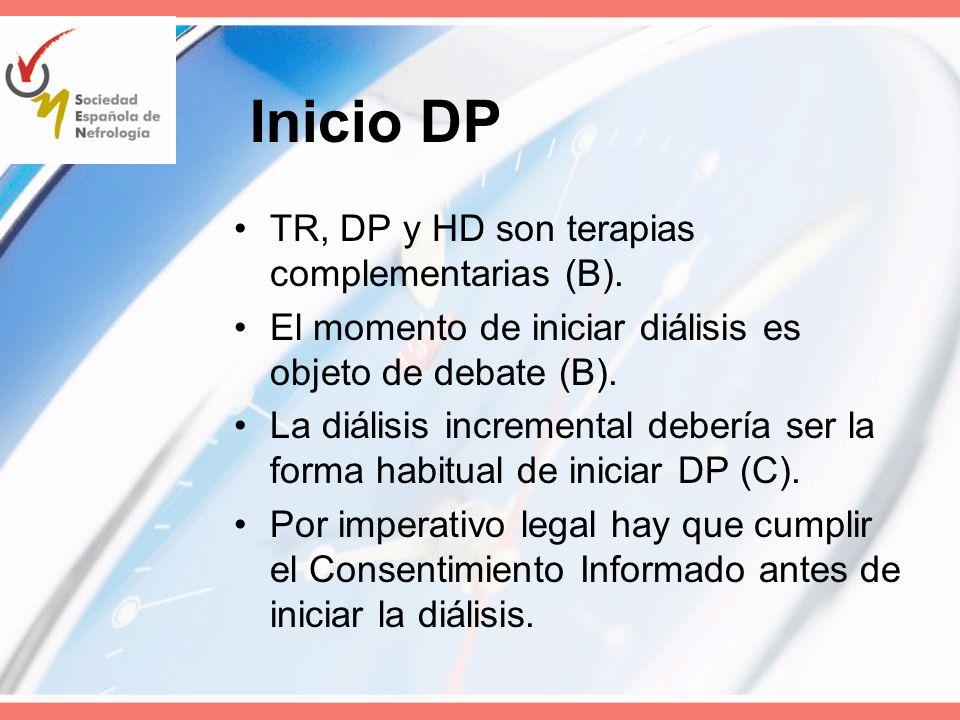 Inicio DP TR, DP y HD son terapias complementarias (B). El momento de iniciar diálisis es objeto de debate (B). La diálisis incremental debería ser la