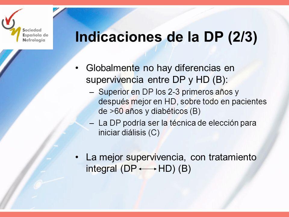Indicaciones de la DP (2/3) Globalmente no hay diferencias en supervivencia entre DP y HD (B): –Superior en DP los 2-3 primeros años y después mejor e