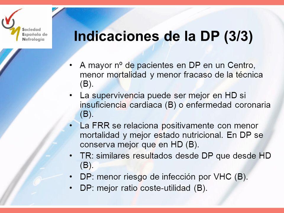 Indicaciones de la DP (3/3) A mayor nº de pacientes en DP en un Centro, menor mortalidad y menor fracaso de la técnica (B). La supervivencia puede ser