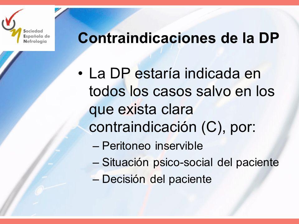 Contraindicaciones de la DP La DP estaría indicada en todos los casos salvo en los que exista clara contraindicación (C), por: –Peritoneo inservible –