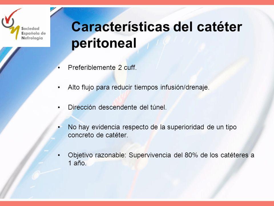 Características del catéter peritoneal Preferiblemente 2 cuff. Alto flujo para reducir tiempos infusión/drenaje. Dirección descendente del túnel. No h