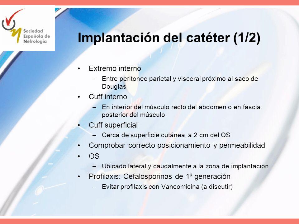 Implantación del catéter (1/2) Extremo interno –Entre peritoneo parietal y visceral próximo al saco de Douglas Cuff interno –En interior del músculo r