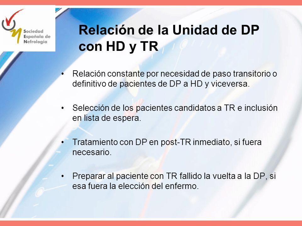 Relación de la Unidad de DP con HD y TR Relación constante por necesidad de paso transitorio o definitivo de pacientes de DP a HD y viceversa. Selecci
