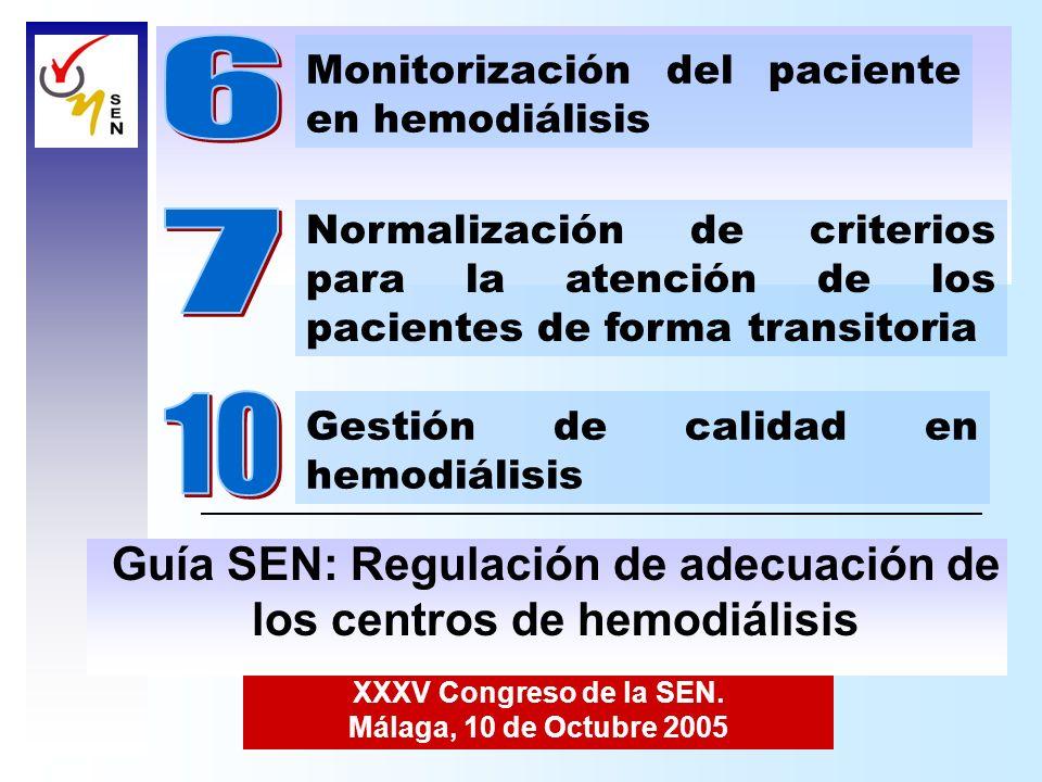 XXXV Congreso de la SEN. Málaga, 10 de Octubre 2005 Normalización de criterios para la atención de los pacientes de forma transitoria Monitorización d