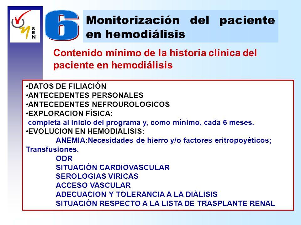 Contenido mínimo de la historia clínica del paciente en hemodiálisis Monitorización del paciente en hemodiálisis DATOS DE FILIACIÓN ANTECEDENTES PERSO