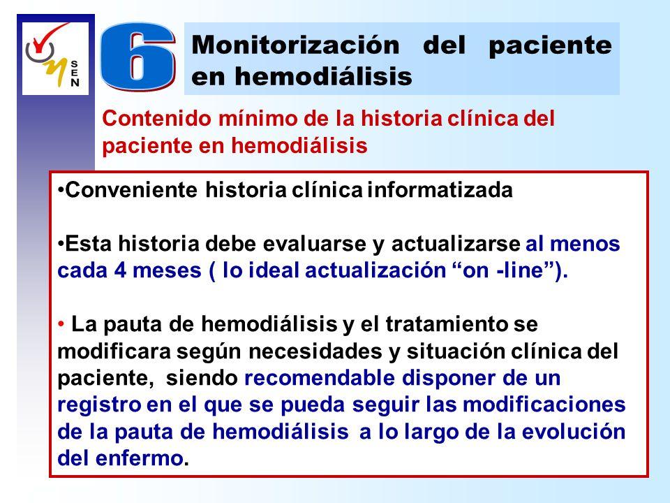 Contenido mínimo de la historia clínica del paciente en hemodiálisis Monitorización del paciente en hemodiálisis Conveniente historia clínica informat
