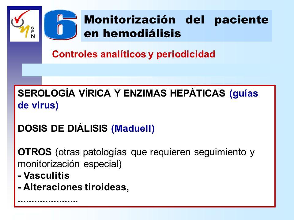 Controles analíticos y periodicidad Monitorización del paciente en hemodiálisis SEROLOGÍA VÍRICA Y ENZIMAS HEPÁTICAS (guías de virus) DOSIS DE DIÁLISI