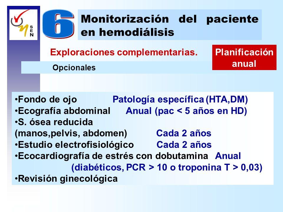 Exploraciones complementarias. Monitorización del paciente en hemodiálisis Opcionales Planificación anual Fondo de ojo Patología específica (HTA,DM) E