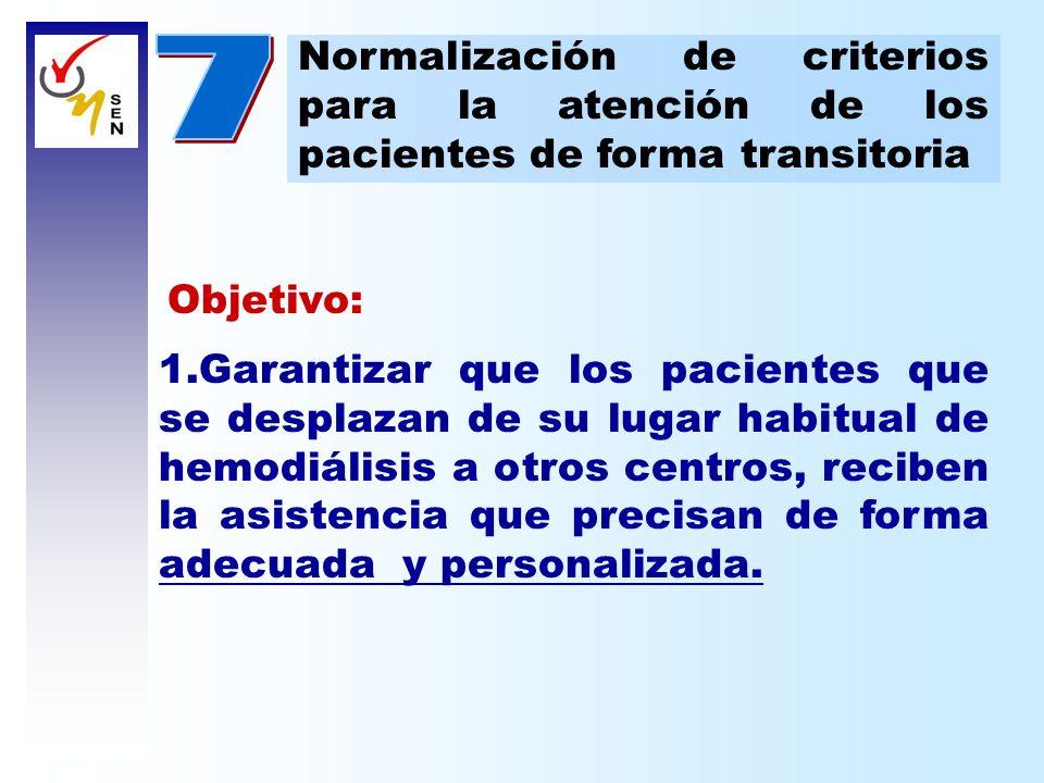 Normalización de criterios para la atención de los pacientes de forma transitoria Objetivo: 1.Garantizar que los pacientes que se desplazan de su luga