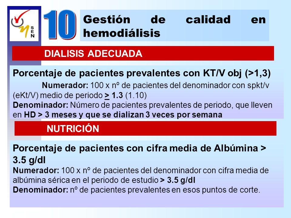 Gestión de calidad en hemodiálisis DIALISIS ADECUADA Porcentaje de pacientes prevalentes con KT/V obj (>1,3) Numerador: 100 x nº de pacientes del deno