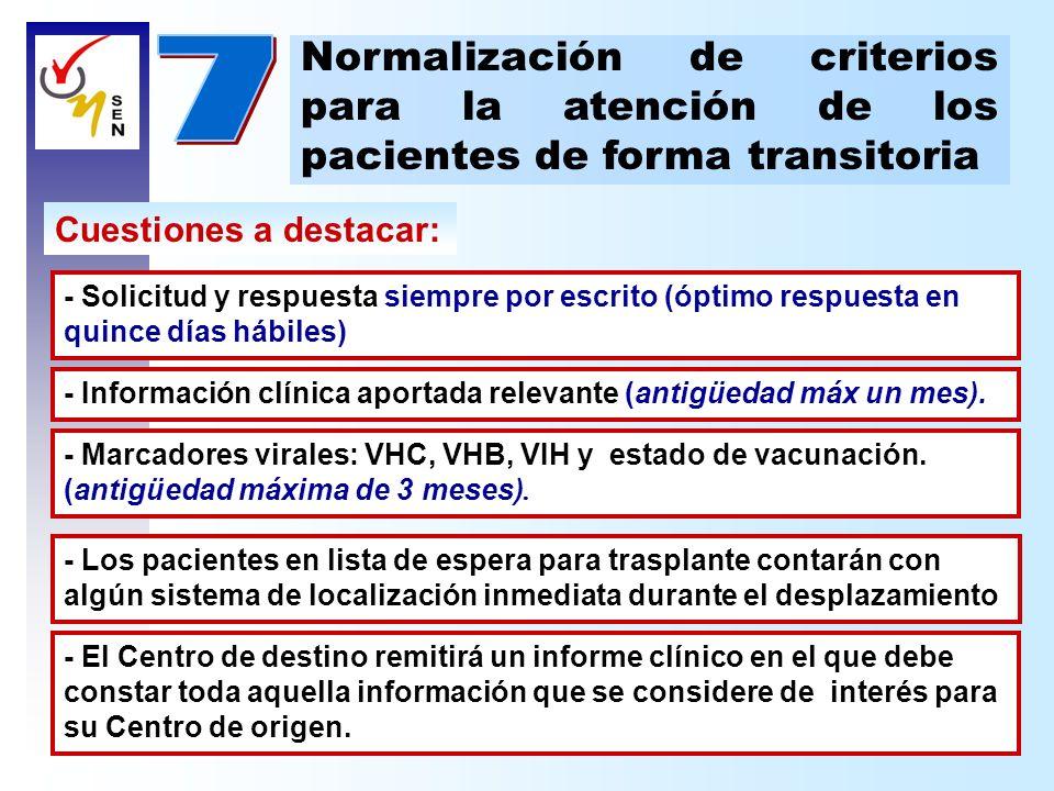 Cuestiones a destacar: Normalización de criterios para la atención de los pacientes de forma transitoria - Información clínica aportada relevante (ant