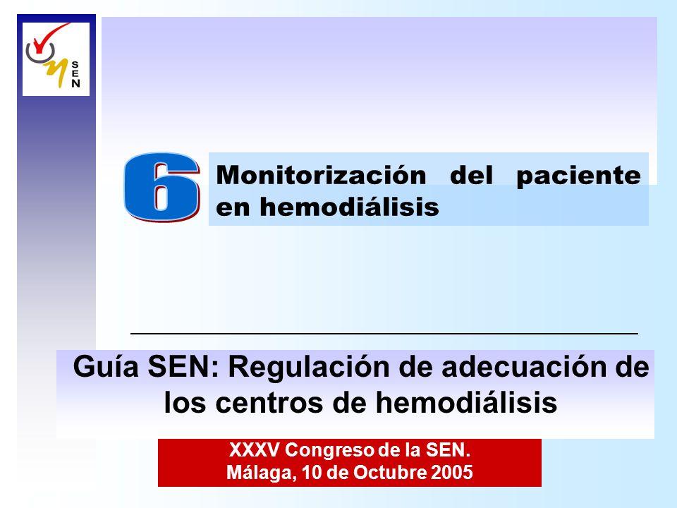 XXXV Congreso de la SEN. Málaga, 10 de Octubre 2005 Monitorización del paciente en hemodiálisis Guía SEN: Regulación de adecuación de los centros de h