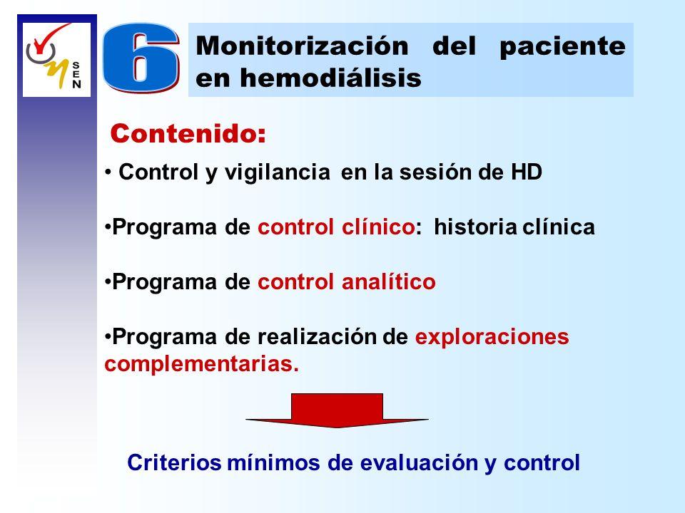 Contenido: Control y vigilancia en la sesión de HD Programa de control clínico: historia clínica Programa de control analítico Programa de realización