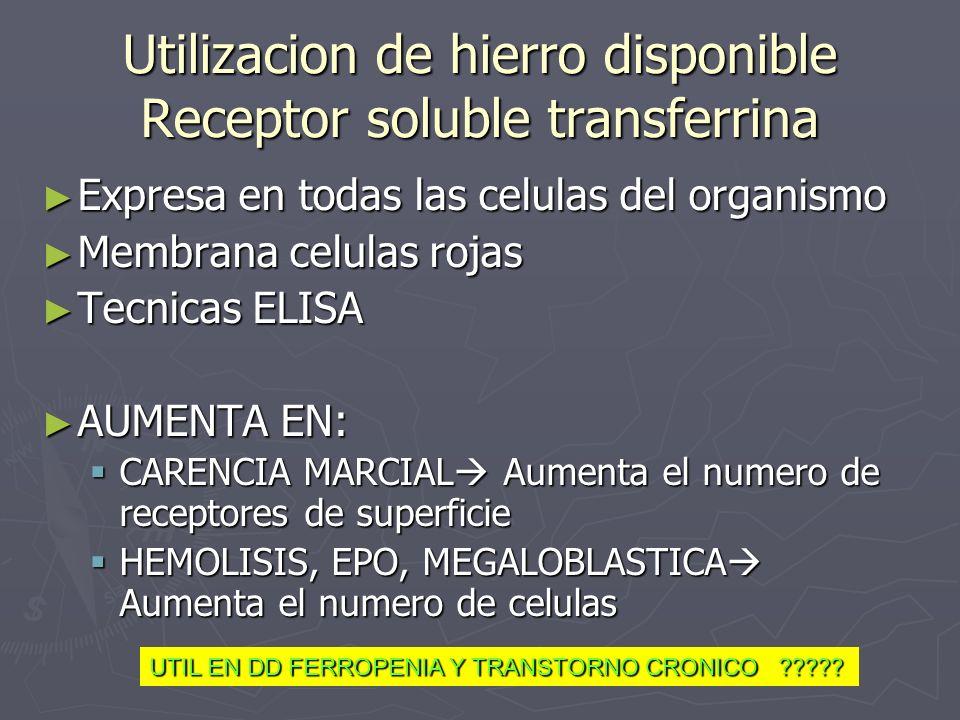 Utilizacion de hierro disponible Receptor soluble transferrina Expresa en todas las celulas del organismo Expresa en todas las celulas del organismo M