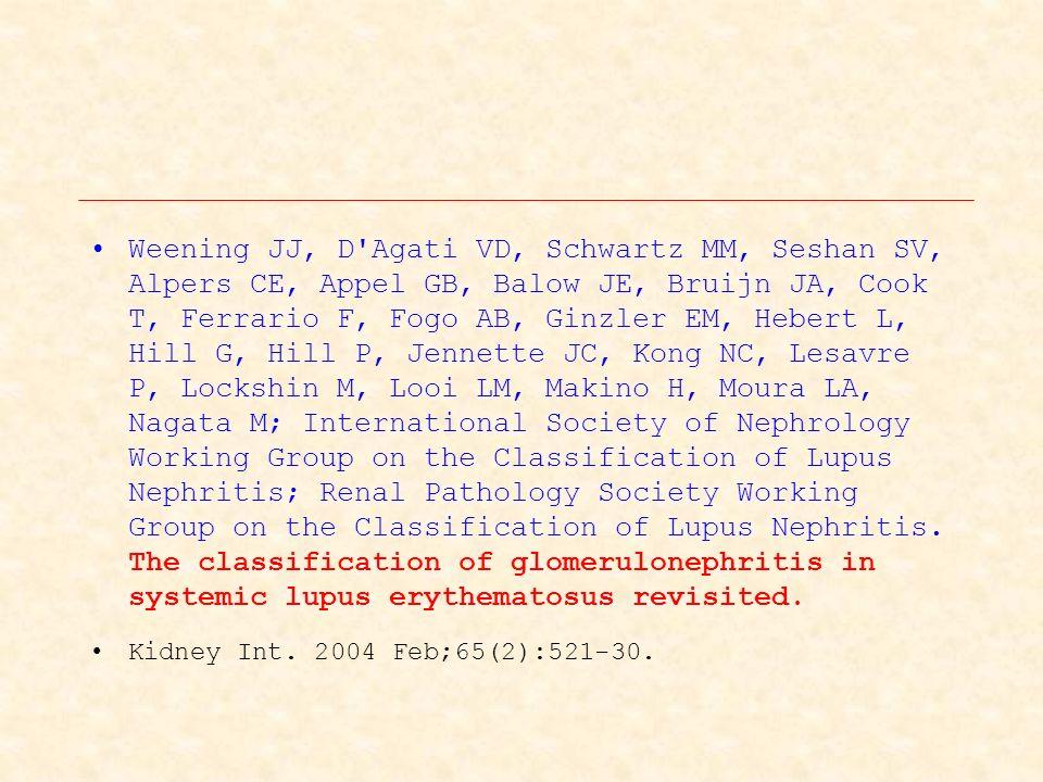 Weening JJ, D Agati VD, Schwartz MM, Seshan SV, Alpers CE, Appel GB, Balow JE, Bruijn JA, Cook T, Ferrario F, Fogo AB, Ginzler EM, Hebert L, Hill G, Hill P, Jennette JC, Kong NC, Lesavre P, Lockshin M, Looi LM, Makino H, Moura LA, Nagata M; International Society of Nephrology Working Group on the Classification of Lupus Nephritis; Renal Pathology Society Working Group on the Classification of Lupus Nephritis.
