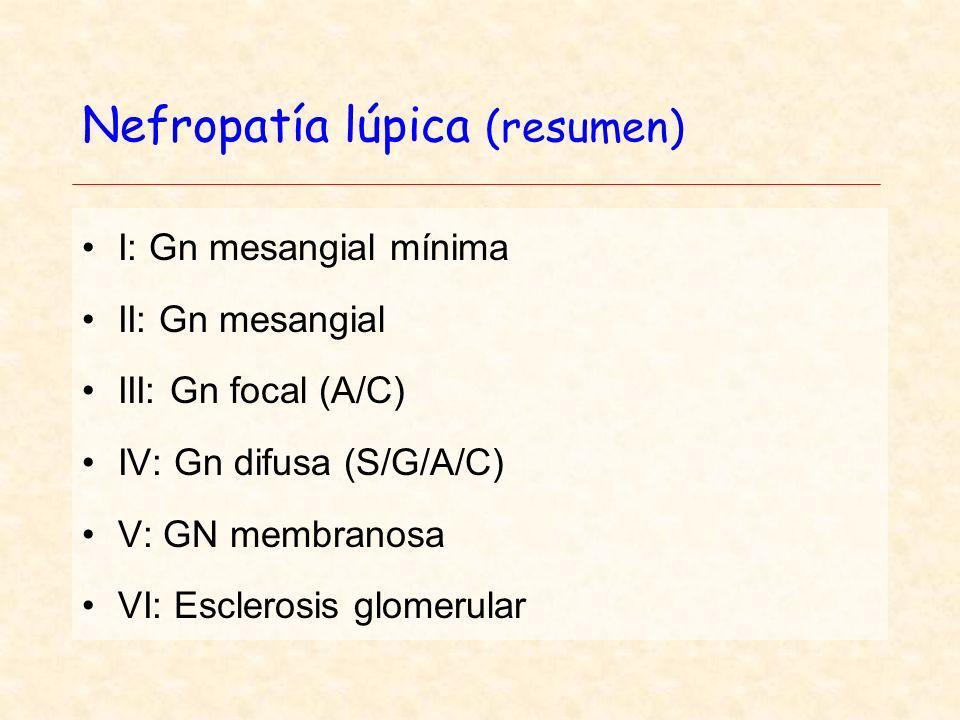 Nefropatía lúpica (resumen) I: Gn mesangial mínima II: Gn mesangial III: Gn focal (A/C) IV: Gn difusa (S/G/A/C) V: GN membranosa VI: Esclerosis glomerular