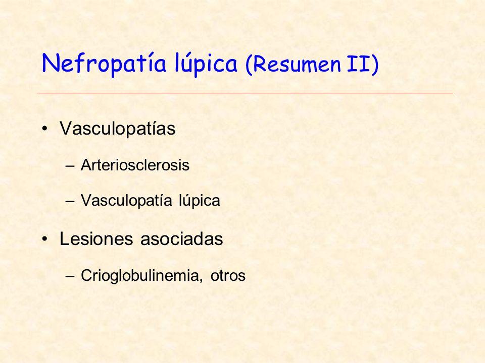 Nefropatía lúpica (Resumen II) Vasculopatías –Arteriosclerosis –Vasculopatía lúpica Lesiones asociadas –Crioglobulinemia, otros