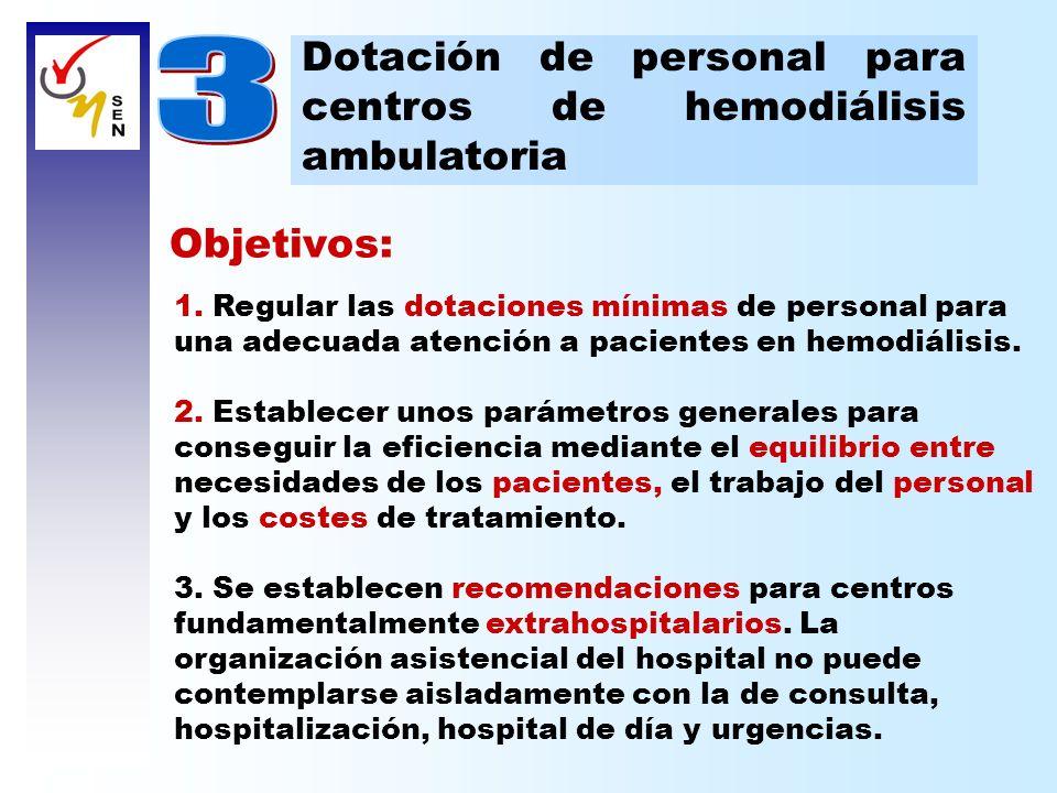 Objetivos: 1. Regular las dotaciones mínimas de personal para una adecuada atención a pacientes en hemodiálisis. 2. Establecer unos parámetros general