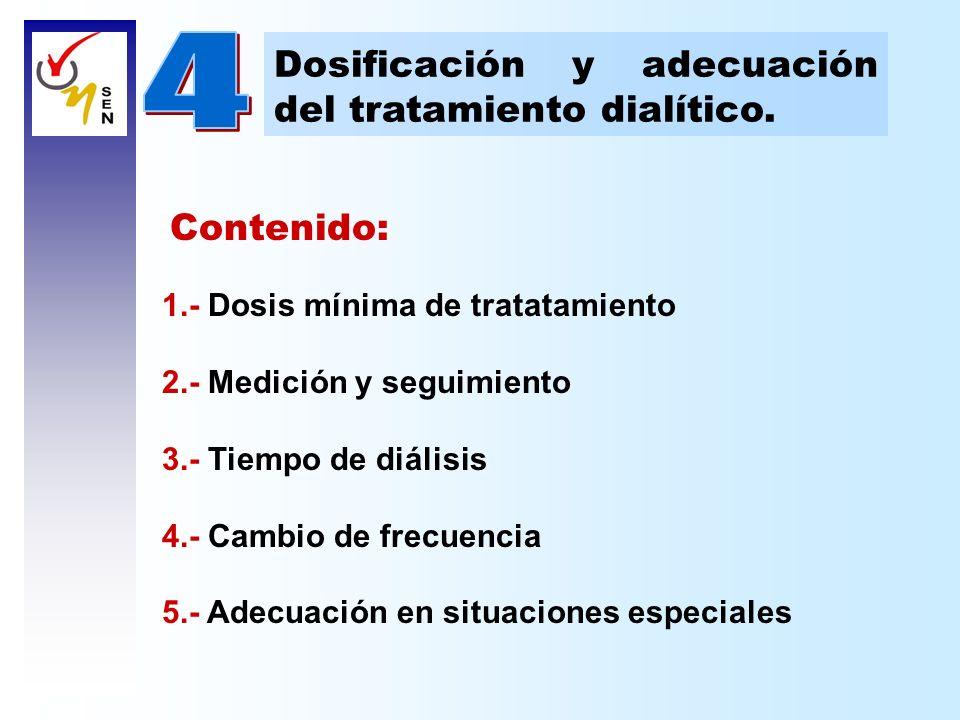 Contenido: 1.- Dosis mínima de tratatamiento 2.- Medición y seguimiento 3.- Tiempo de diálisis 4.- Cambio de frecuencia 5.- Adecuación en situaciones