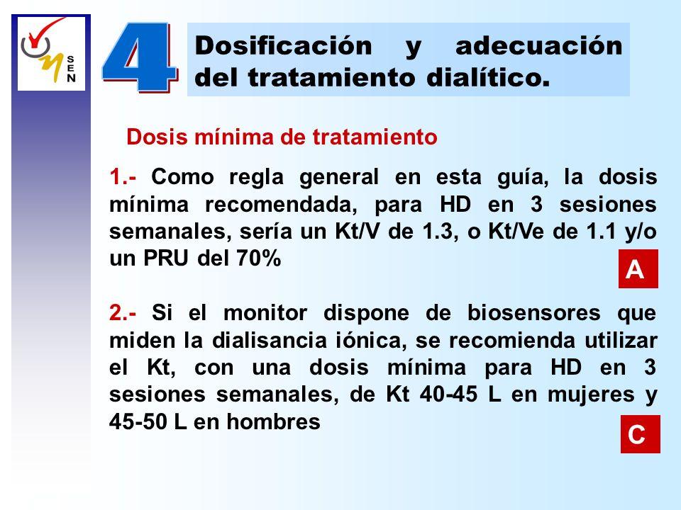 Dosificación y adecuación del tratamiento dialítico. Dosis mínima de tratamiento 1.- Como regla general en esta guía, la dosis mínima recomendada, par