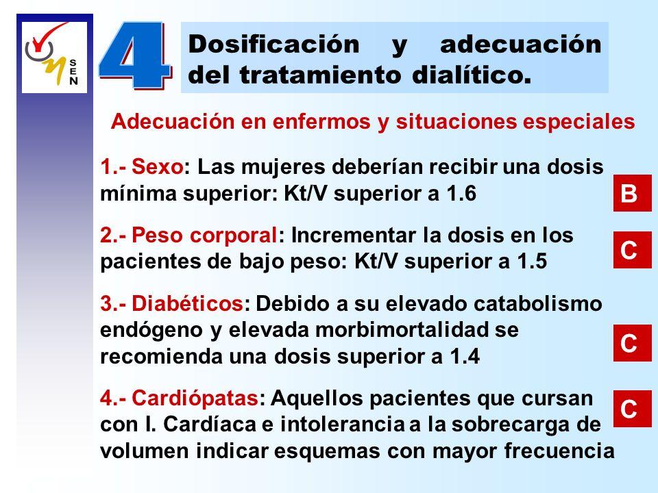 Dosificación y adecuación del tratamiento dialítico. 1.- Sexo: Las mujeres deberían recibir una dosis mínima superior: Kt/V superior a 1.6 2.- Peso co