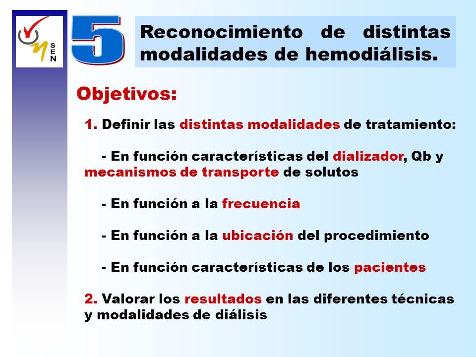 Objetivos: 1. Definir las distintas modalidades de tratamiento: - En función características del dializador, Qb y mecanismos de transporte de solutos