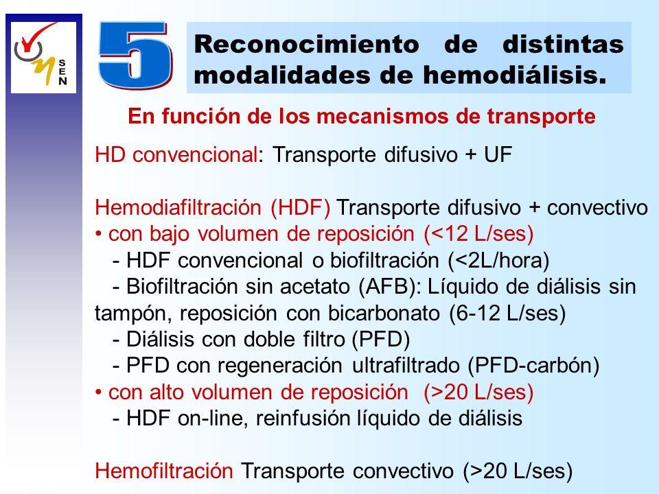 HD convencional: Transporte difusivo + UF Hemodiafiltración (HDF) Transporte difusivo + convectivo con bajo volumen de reposición (<12 L/ses) - HDF co