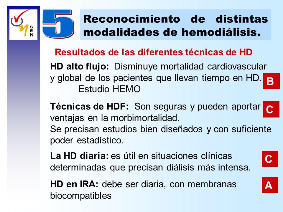 HD alto flujo: Disminuye mortalidad cardiovascular y global de los pacientes que llevan tiempo en HD. Estudio HEMO Reconocimiento de distintas modalid