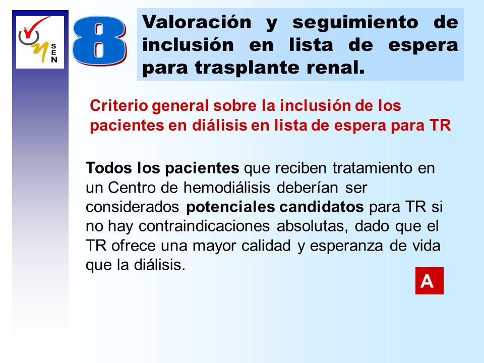 Valoración y seguimiento de inclusión en lista de espera para trasplante renal. Todos los pacientes que reciben tratamiento en un Centro de hemodiális