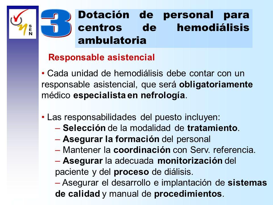 Dotación de personal para centros de hemodiálisis ambulatoria Responsable asistencial Cada unidad de hemodiálisis debe contar con un responsable asist