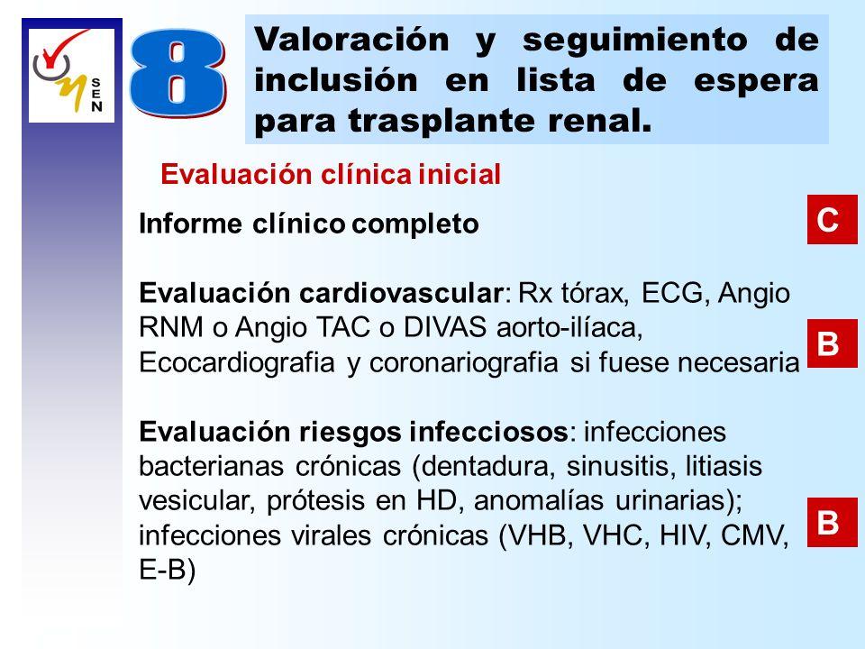 Valoración y seguimiento de inclusión en lista de espera para trasplante renal. Informe clínico completo Evaluación cardiovascular: Rx tórax, ECG, Ang