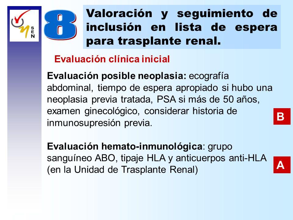 Valoración y seguimiento de inclusión en lista de espera para trasplante renal. Evaluación posible neoplasia: ecografía abdominal, tiempo de espera ap