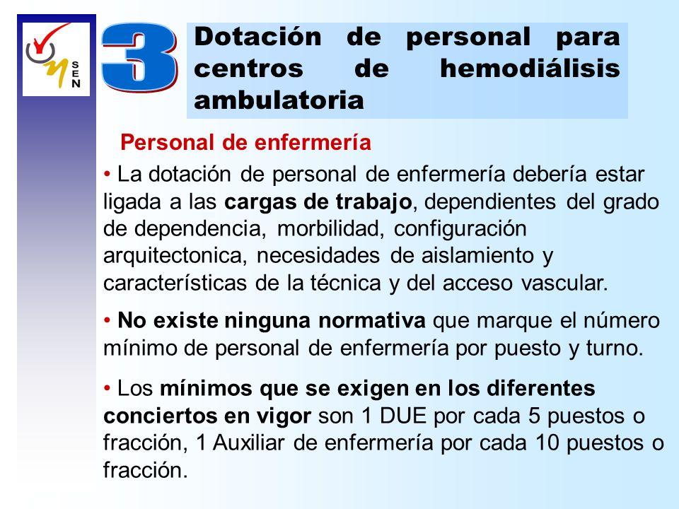 Dotación de personal para centros de hemodiálisis ambulatoria Personal de enfermería Las necesidades de personal de enfermería son dinámicas, dependientes del momento del turno y se modifican según el grado de complejidad del paciente o de la técnica dialítica.