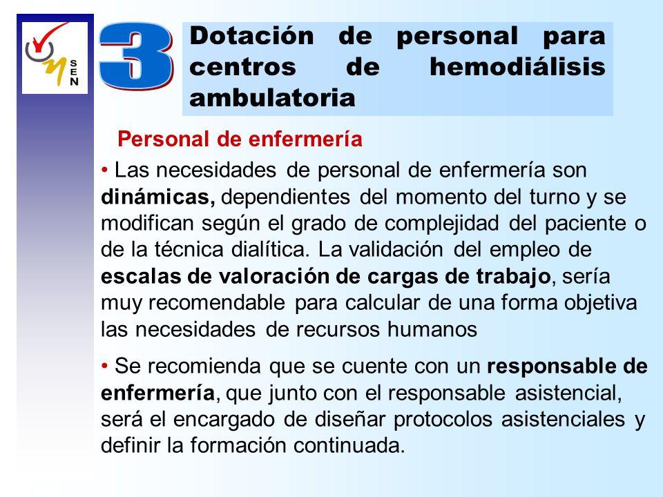 Dotación de personal para centros de hemodiálisis ambulatoria Personal de enfermería El personal de enfermería que atienda directamente a los pacientes deberá demostrar una experiencia mínima de al menos 3 meses en hemodiálisis.