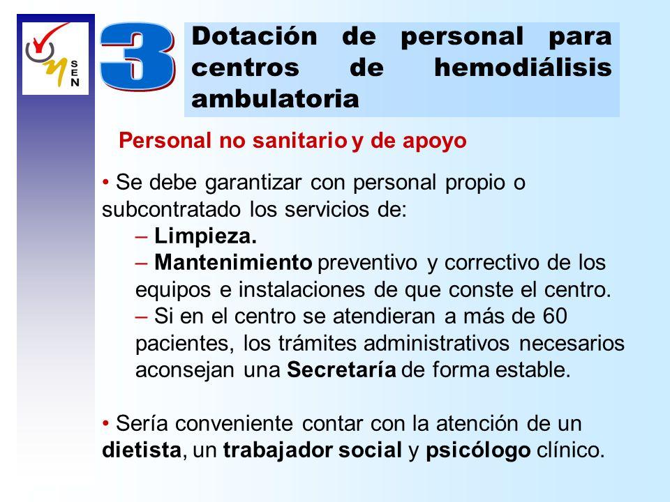 Dotación de personal para centros de hemodiálisis ambulatoria Personal no sanitario y de apoyo Se debe garantizar con personal propio o subcontratado
