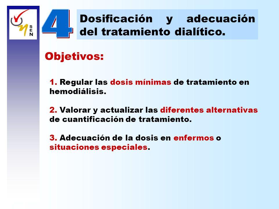 Objetivos: 1. Regular las dosis mínimas de tratamiento en hemodiálisis. 2. Valorar y actualizar las diferentes alternativas de cuantificación de trata