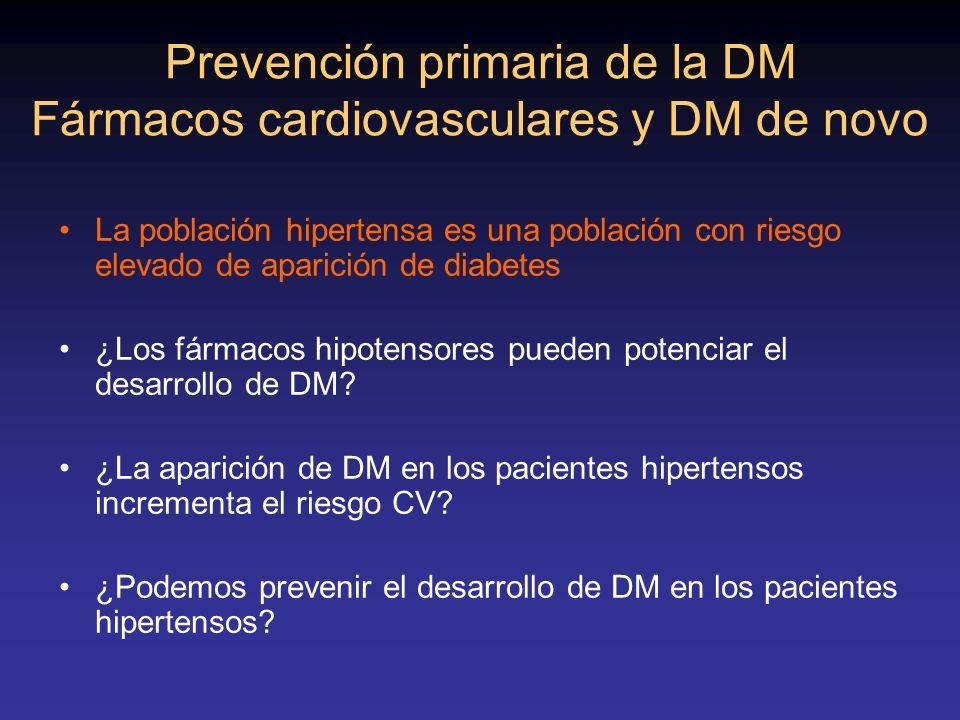 Prevención primaria de la DM Fármacos cardiovasculares y DM de novo La población hipertensa es una población con riesgo elevado de aparición de diabet