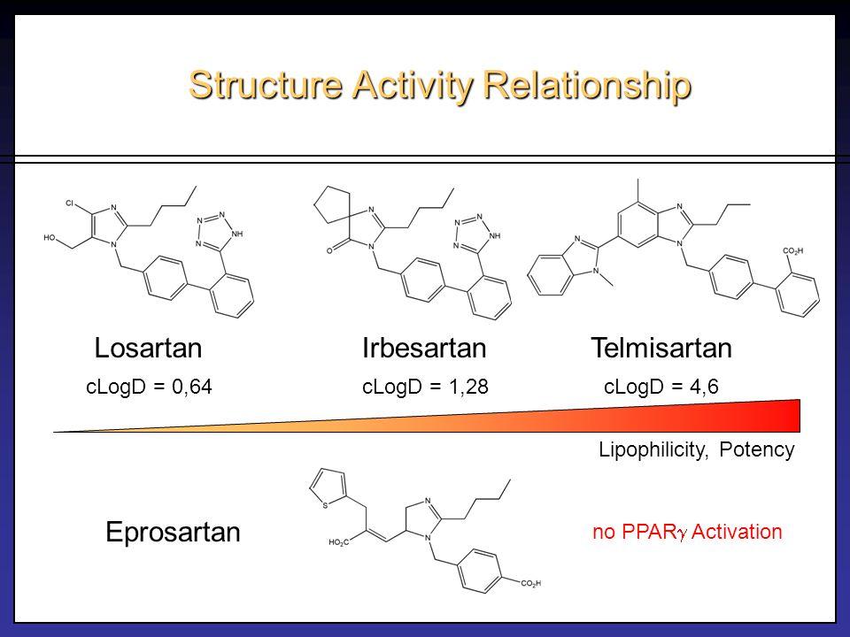 Structure Activity Relationship LosartanIrbesartan Eprosartan no PPAR Activation Telmisartan cLogD = 4,6cLogD = 1,28cLogD = 0,64 Lipophilicity, Potenc