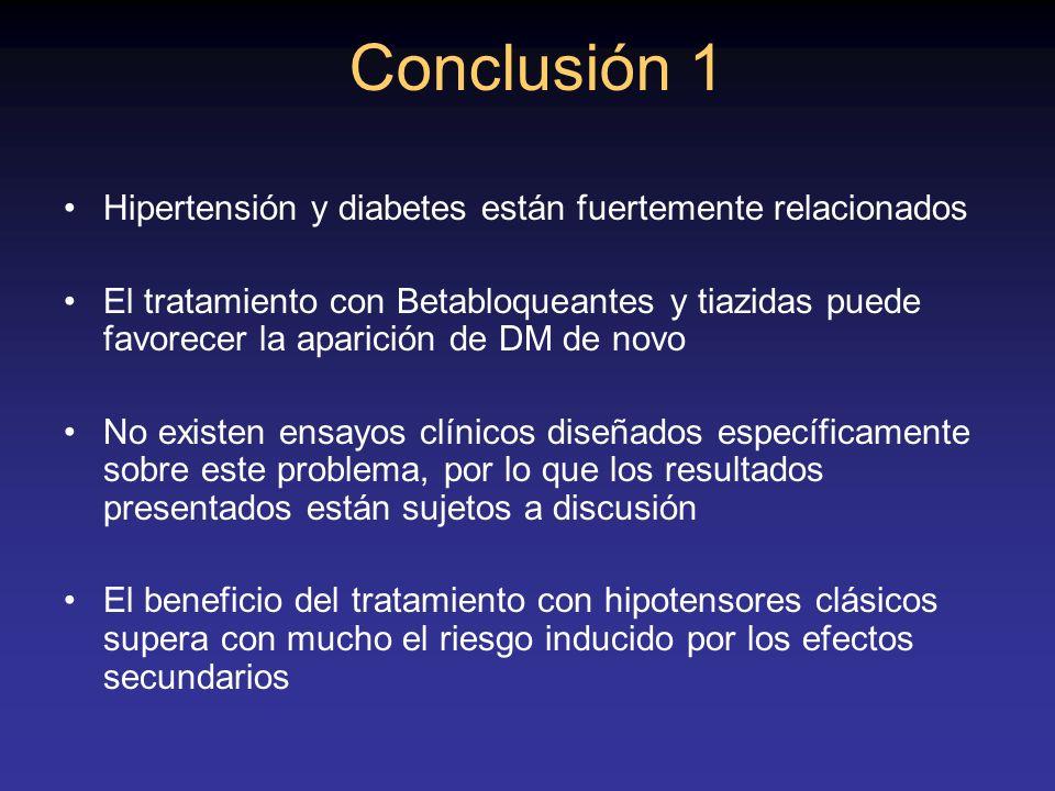 Conclusión 1 Hipertensión y diabetes están fuertemente relacionados El tratamiento con Betabloqueantes y tiazidas puede favorecer la aparición de DM d
