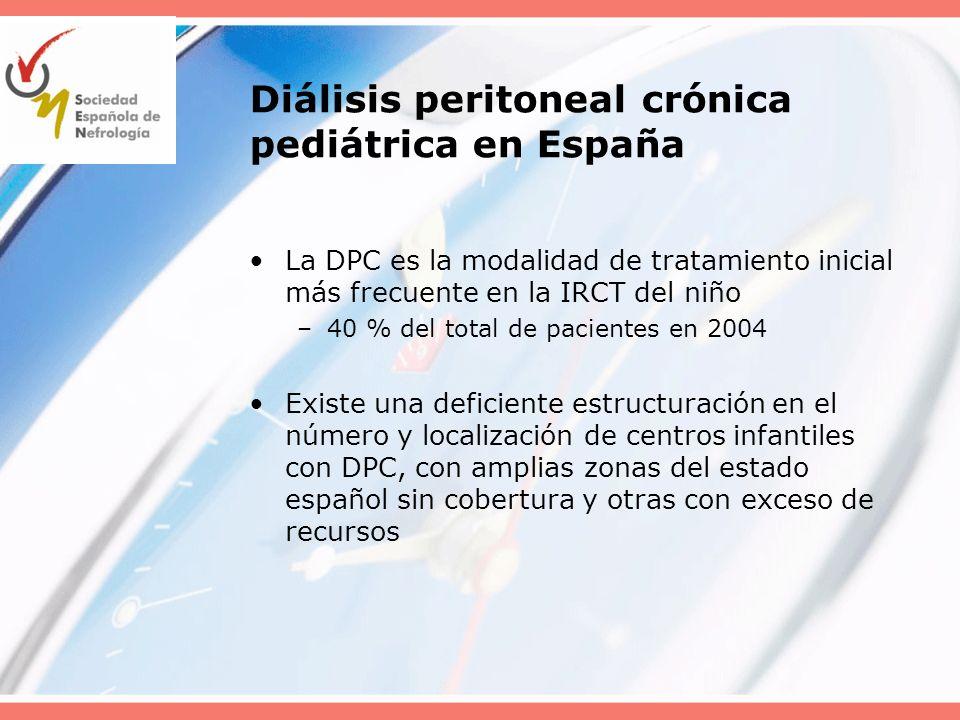 Diálisis peritoneal crónica pediátrica en España La DPC es la modalidad de tratamiento inicial más frecuente en la IRCT del niño –40 % del total de pa