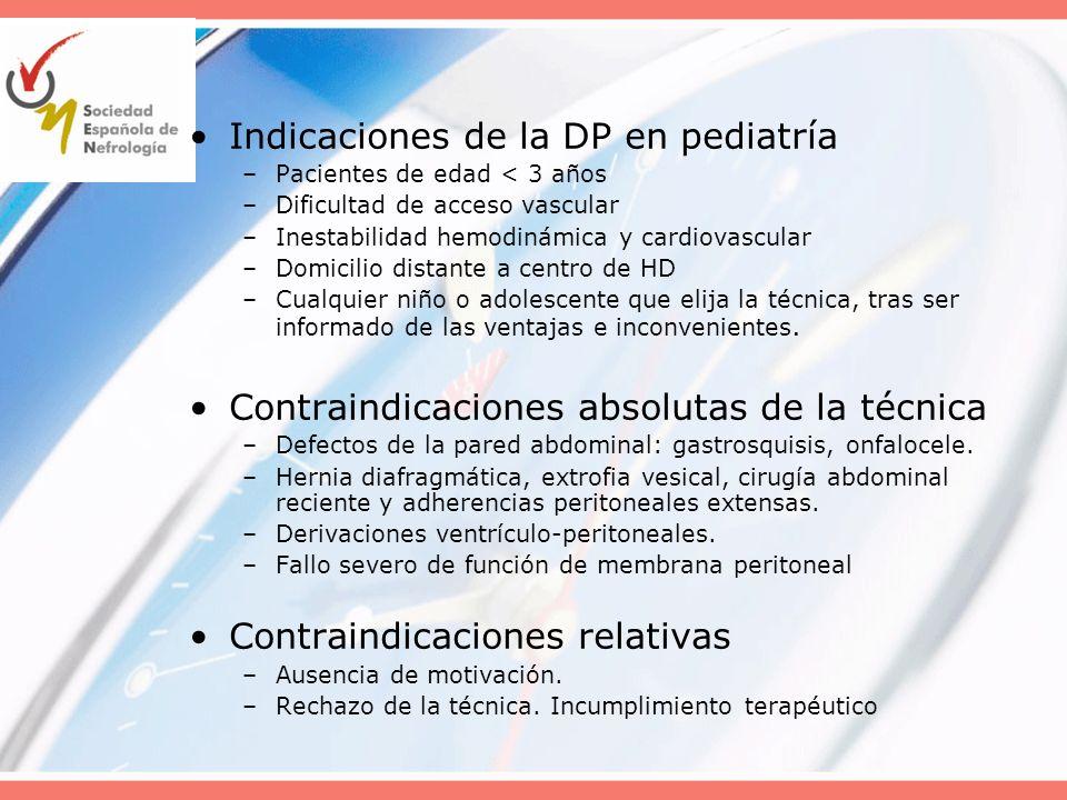 Indicaciones de la DP en pediatría –Pacientes de edad < 3 años –Dificultad de acceso vascular –Inestabilidad hemodinámica y cardiovascular –Domicilio