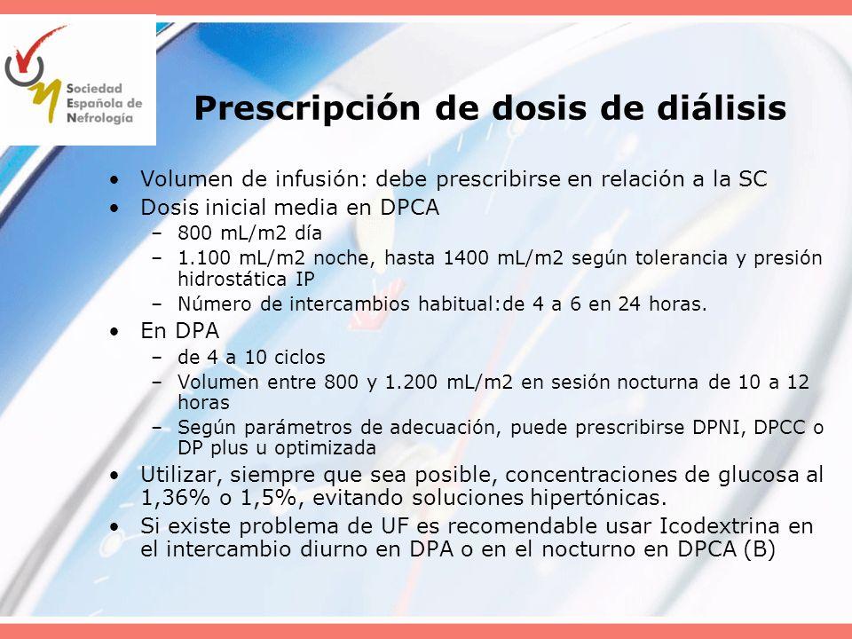 Prescripción de dosis de diálisis Volumen de infusión: debe prescribirse en relación a la SC Dosis inicial media en DPCA –800 mL/m2 día –1.100 mL/m2 n
