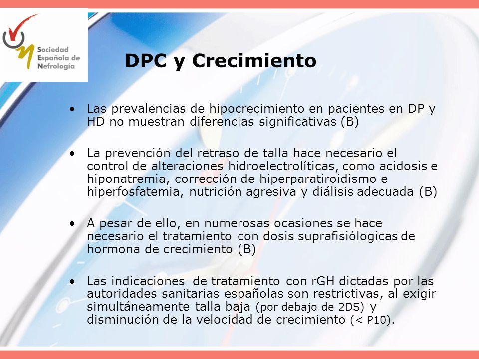 DPC y Crecimiento Las prevalencias de hipocrecimiento en pacientes en DP y HD no muestran diferencias significativas (B) La prevención del retraso de