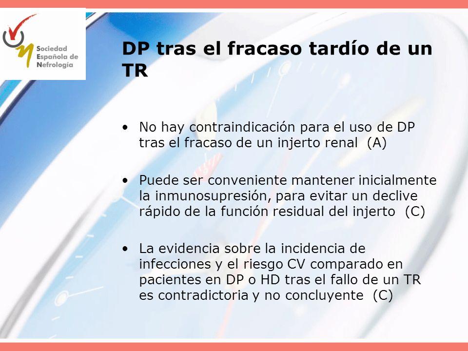 DP tras el fracaso tardío de un TR No hay contraindicación para el uso de DP tras el fracaso de un injerto renal (A) Puede ser conveniente mantener in