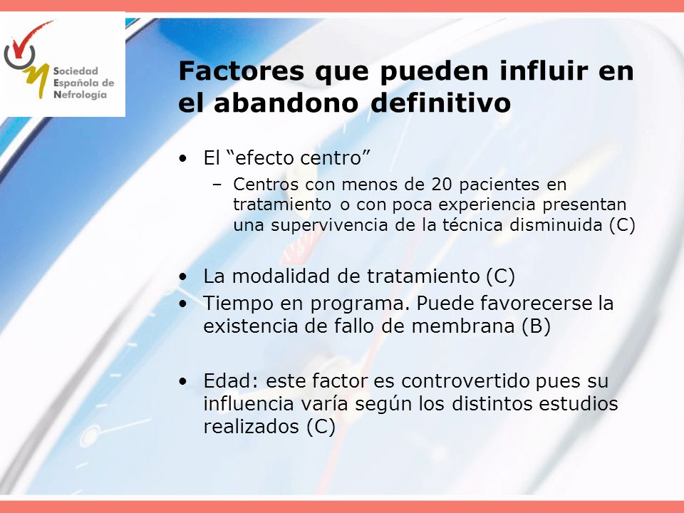 Factores que pueden influir en el abandono definitivo El efecto centro –Centros con menos de 20 pacientes en tratamiento o con poca experiencia presen
