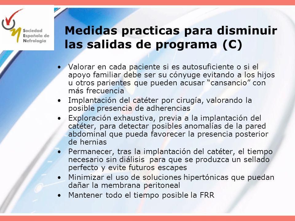Medidas practicas para disminuir las salidas de programa (C) Valorar en cada paciente si es autosuficiente o si el apoyo familiar debe ser su cónyuge
