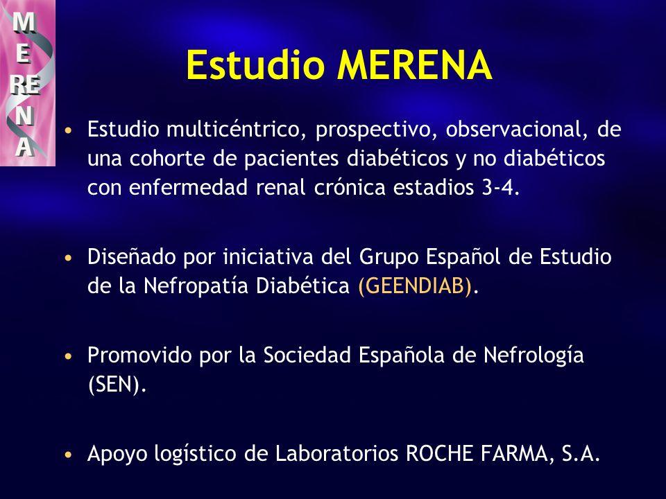Estudio MERENA Estudio multicéntrico, prospectivo, observacional, de una cohorte de pacientes diabéticos y no diabéticos con enfermedad renal crónica estadios 3-4.