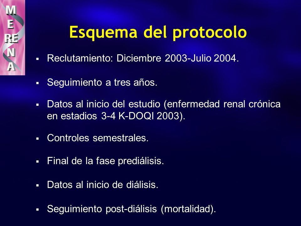 Características de los Pacientes N=1115 (55 centros) n (%) Edad, años (± DS) 67 ± 13 (r: 19-96) Sexo -Varón - Mujer 710 (64 %) 405 (36 %) IMC 28.4 ± 4.7 (15-54) Diabetes 443 (40 %) Estadio K-DOQI - Estadio 3 - Estadio 4 522 (47 %) 593 (53 %) Etiología - Glomerular - Intersticial - Vascular - Poliquistosis - Nef.