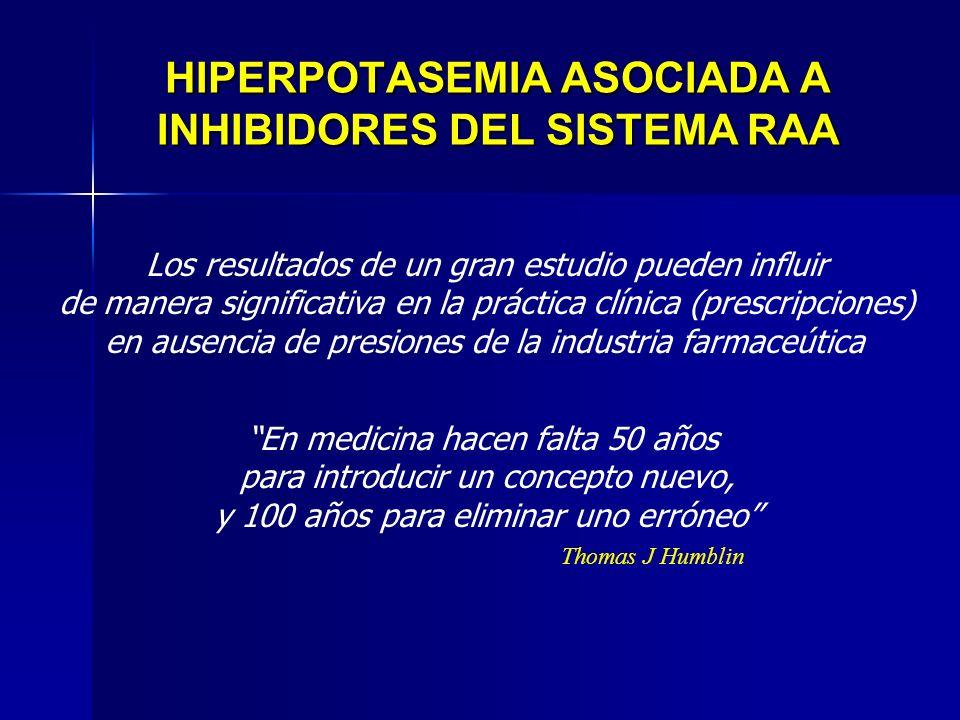 HIPERPOTASEMIA ASOCIADA A INHIBIDORES DEL SISTEMA RAA En medicina hacen falta 50 años para introducir un concepto nuevo, y 100 años para eliminar uno